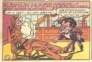 Dr. Psycho attempting to murder Steve Trevor. Or, two men having lesbian sex. From Wonder Woman No. 5