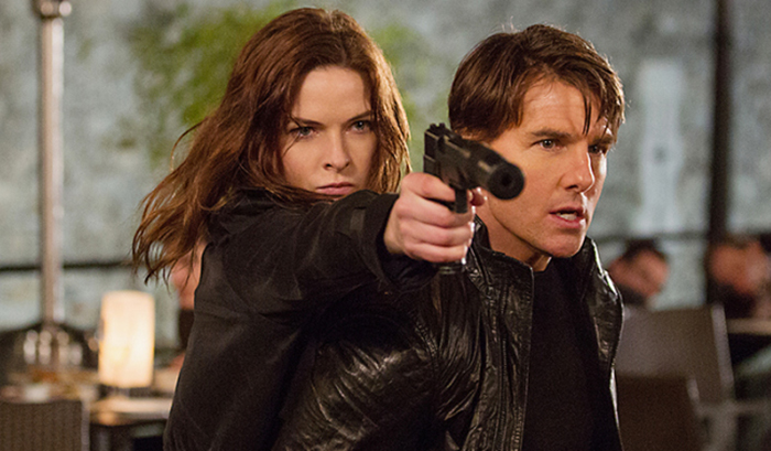 Rebecca Ferguson as Ilsa and Tom Cruise as Ethan Hunt in Mission: Impossible - Rogue Nation.