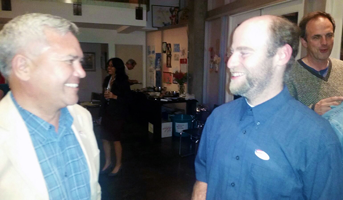 Mr. Small, left, with campaign manager Karlo Silbiger
