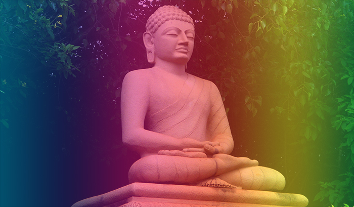 Statue of Buddha at Thotlakonda Park. Photo: Adityamadhav83 (Own work) [CC BY-SA 3.0 via Wikimedia Commons. Rainbow effect added by F. Sisa.