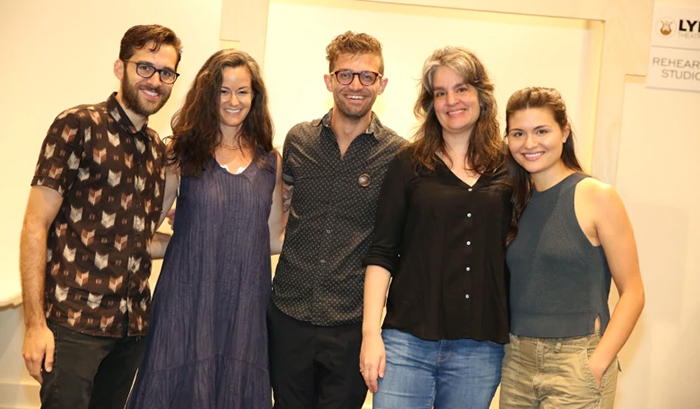 From left, Adam Chanler-Berat, Kimberly Grigsby, Sam Pinkleton, Pam MacKinnon and Phillipa Soo from the cast of 'Amelie.'