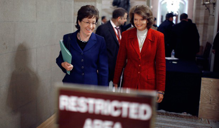 Sen. Collins (L) and Sen. Murkowski (R). Photo: National Journal
