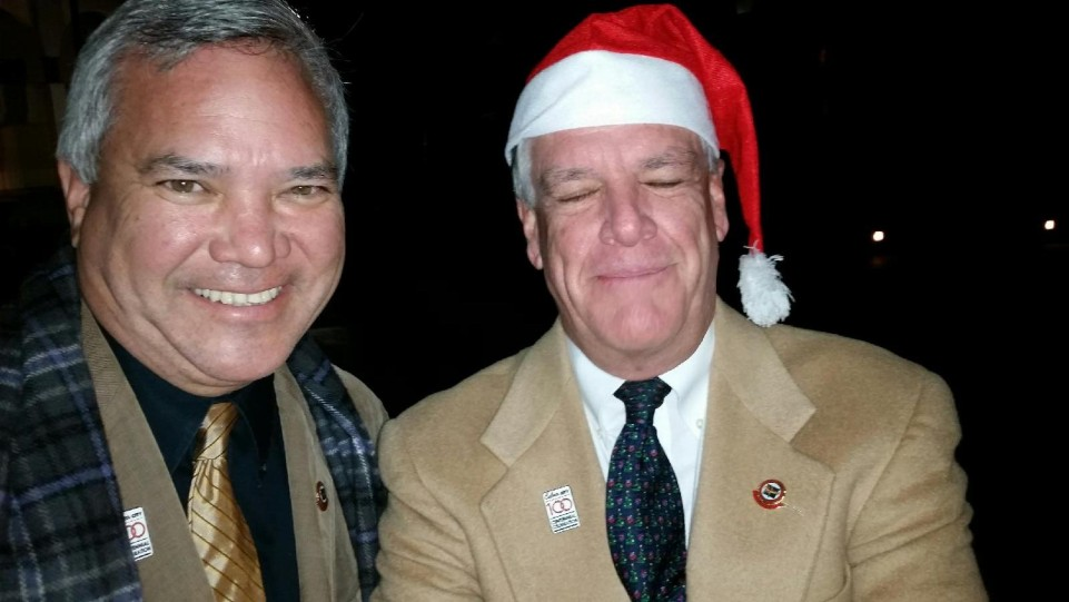 Mr. Small, left, with Mayor Jim Clarke